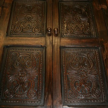 Four 17thC dated 1666 carved panels in a later frame. - Furniture