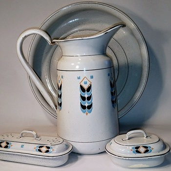 My Enamelware Water Pitcher and basin Set with wheat design - Pottery