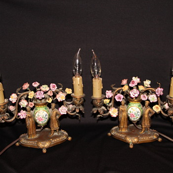 My pair of Asian/Oriental bronze & porcelain lamps  - Lamps