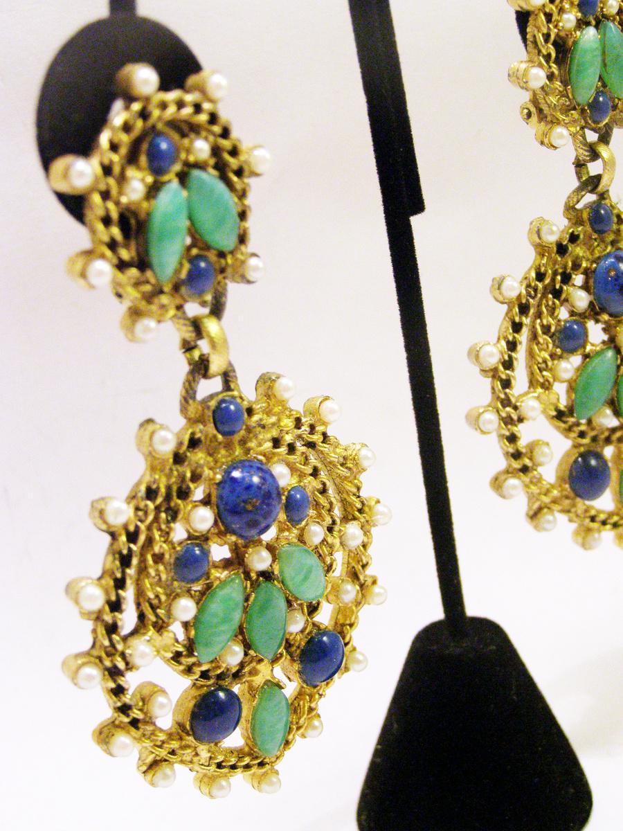 Vintage Kenneth Jay Lane Huge Byzantine Earrings ...