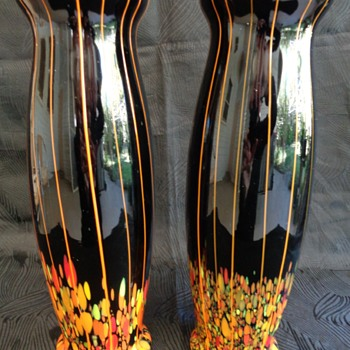 Pair 1920s/1930s Czech glass vases with spatter & stripes - Art Glass
