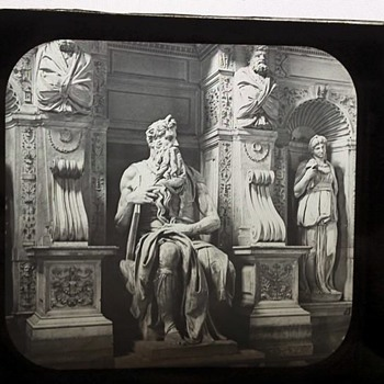 1800's Glass Photo Slide - Statue of Moses - Photographs
