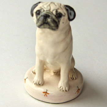 The Small Pug Hand Painted Ceramic Dog  - A Great Desk Top Companion - Animals