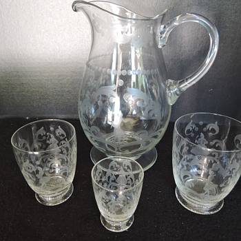 Etched Crystal Pitcher and Tumbler Set - Glassware