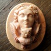 Antique Victorian Minerva and owl Lava Stone Cameo.