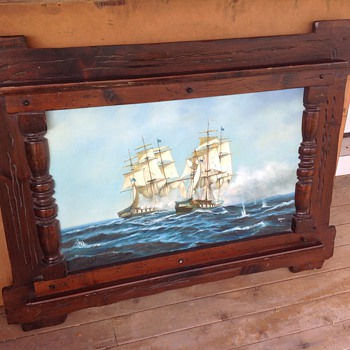 shaw oil painting in large frame wooden