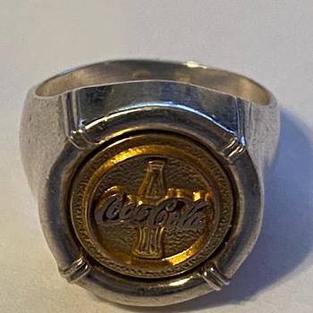 retro / Antique Gold and Silver Coke Ring - Coca-Cola