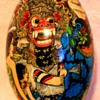 Indian Painted Wooden Egg Godhead and Blue Monkey Diety
