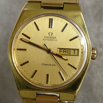 1973- omega 'geneve' men's gold plated watch-auto wind-no battery.