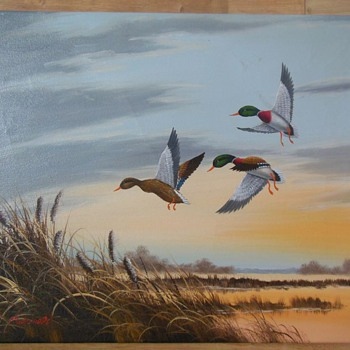 Three Ducks Flying Over a Lake - Oil Painting. - Fine Art