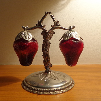 Salt and Pepper Shakers:  Glass Strawberries - Kitchen