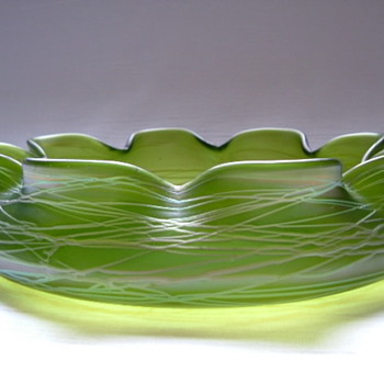 Art Nouveau Kralik Threaded Bowl - Art Glass