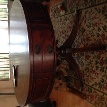 Antique drum table -large double drawer