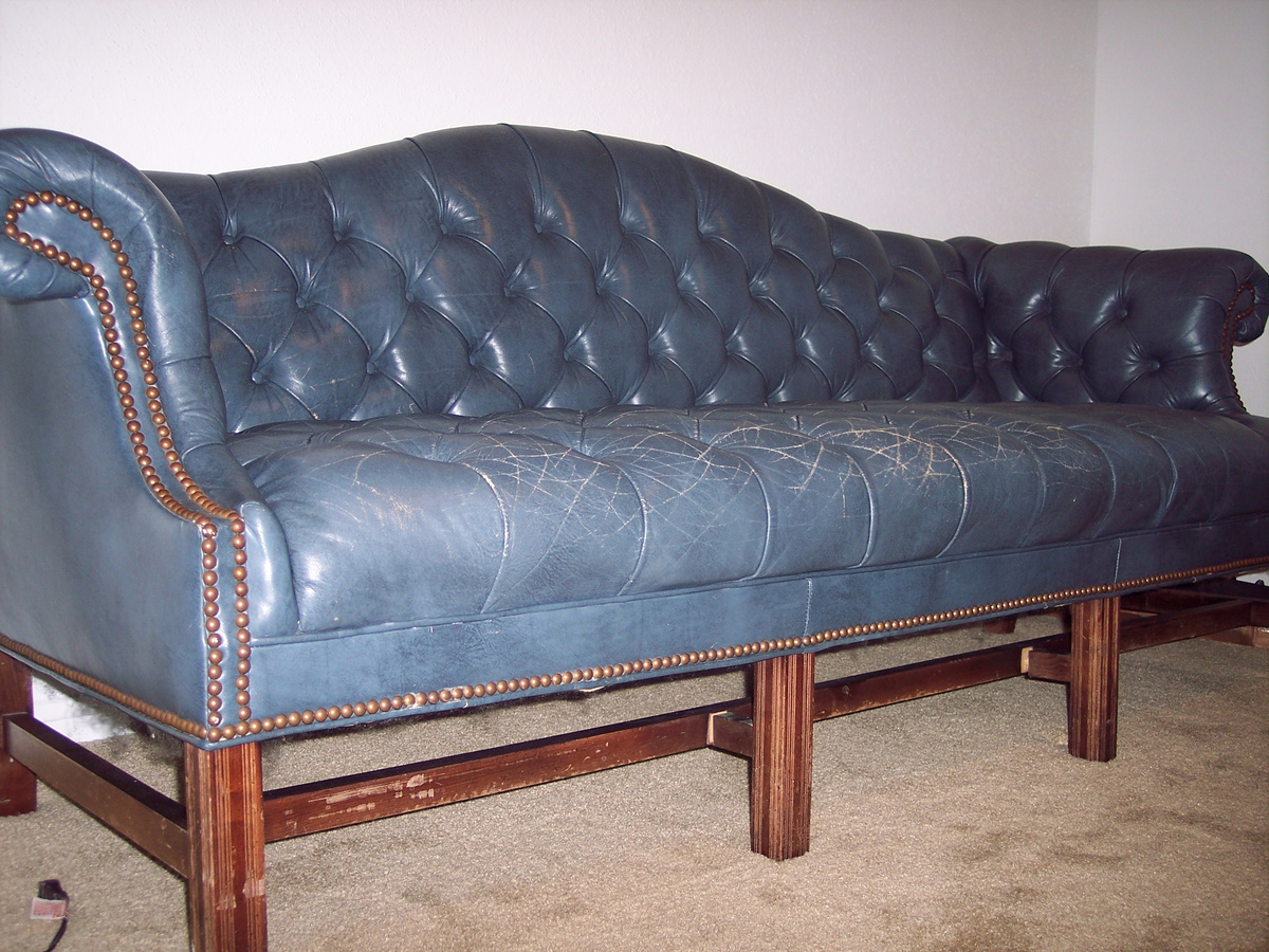 Fabulous Vintage Ethan Allen Blue Leather Office Couch Collectors Gmtry Best Dining Table And Chair Ideas Images Gmtryco