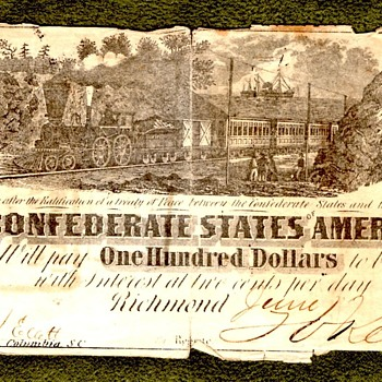 Confederate Currency and $100 Bond - US Paper Money