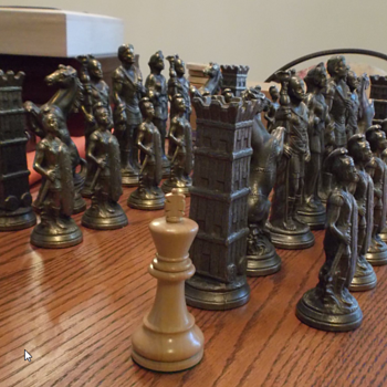 Giant Vintage Brass Chess Set - Mystery!