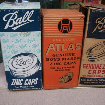 Vintage zinc jar lids--for Keramikos - Bottles