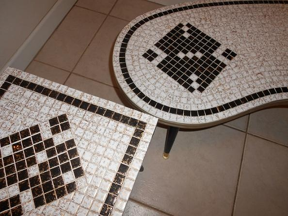 50 S Vintage Retro Mosiac Tiled Kidney Shaped Coffee Table Set Collectors Weekly