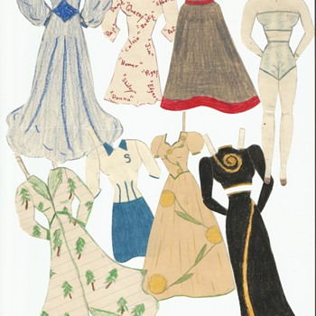 Hand Drawn Paper dolls from 1940's WII - Paper