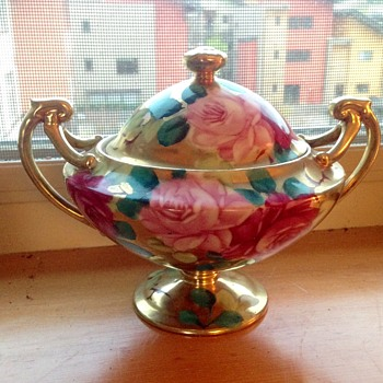 Nippon hand-painted rose dish with lid