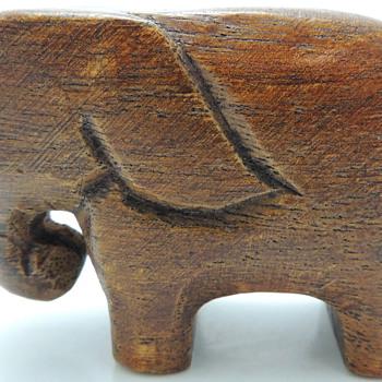 Hand Carved Teak Elephant - Animals