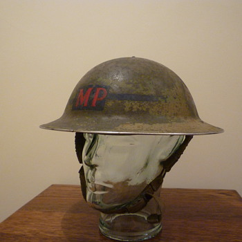 British WWII Military Police Combat helmet. - Military and Wartime