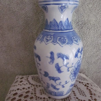 ChineseVintage Hand Painted Blue White Vase - Asian