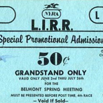 1975 LIRR/NYRA Promo Ticket - Railroadiana