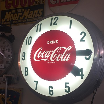 1958 Coca-Cola 22 inch double bubble clock - Coca-Cola