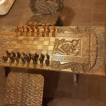 1960s african carved chess table and chairs