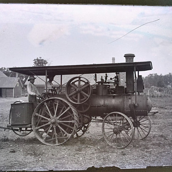 Antique Steam Tractor Glass Photo Negatives - Photographs