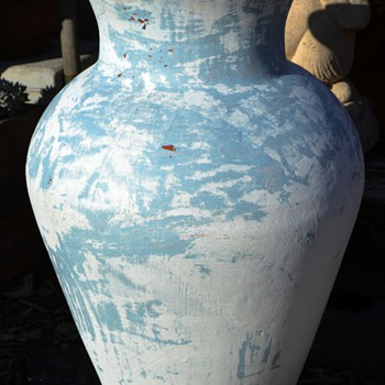 """Half-stripped / Painted 30"""" High Mexican Terracotta Floor Vase - Pottery"""