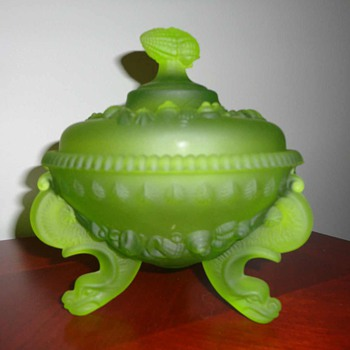 Vintage (serpent looking) Dolphin footed westmoreland covered compote - Glassware