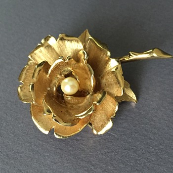 Boucher Rose Brooch Number 8371P  - Costume Jewelry
