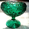 """Fenton Cupped Comport in Emerald / Olde Virginia Glass """"Water Lily"""" Pattern /Circa 1970's"""