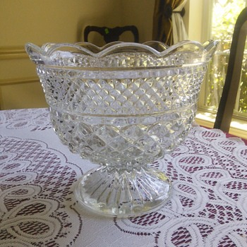 Glass Wexford Waffle and Diamond Pedestal Bowl 1960s