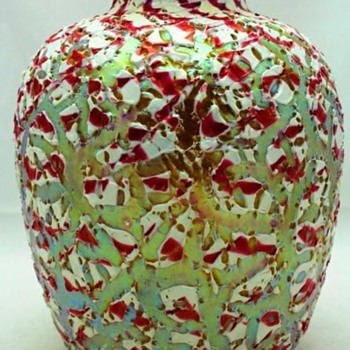 Durand Red & White Moorish Crackle Vase c.1925 - Art Glass