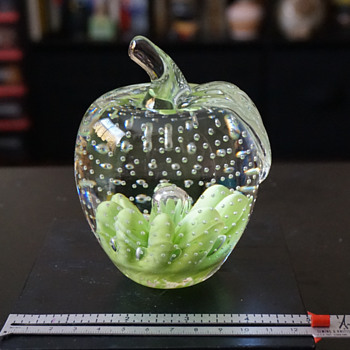 Joe St. Clair Green Apple Paper Weight - Art Glass