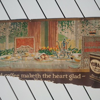 Pre-1920's Yuban Coffee Cardboard Trolley Car Advertisement Sign - Signs