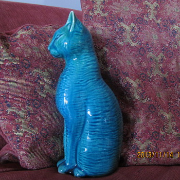 blue/green cat ornament bought at a car boot a few years ago - Figurines