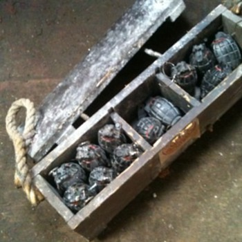 A box of Grenades (dummies) from the London war Museum - Military and Wartime