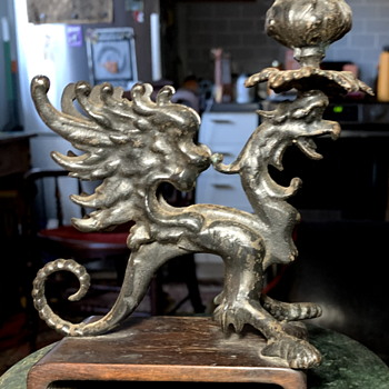 Griffon Candle Stick on Wooden Base - Asian
