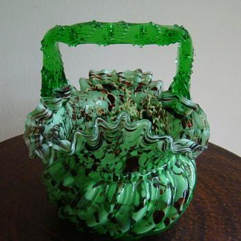 Franz Welz  big  basket - Art Glass