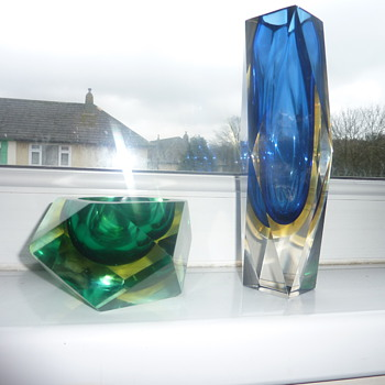 faceted vase and bowl - Art Glass