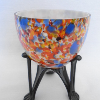Czech Art Deco Bowl on Strutted Legs - Art Glass