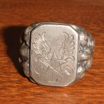 WW2 German Silver Trench Art Ring for Army Air Corps soldier