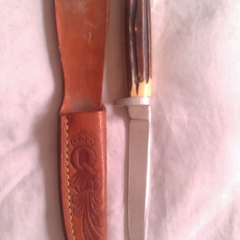 Vintage Queen Steel Fixed Blade Knife With Leather Sheath - Tools and Hardware