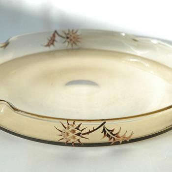 emile gallé large glass tray. with thistle enamel decoration.  circa 1884-1889 - Art Nouveau