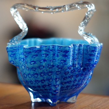 An Addition To My Welz Collection - A Second Example Of A New Basket Shape in A Very Uncommon Decor!! - Art Glass