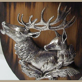 My vintage DEER Head Picture Plaque - Metal - Fine Art